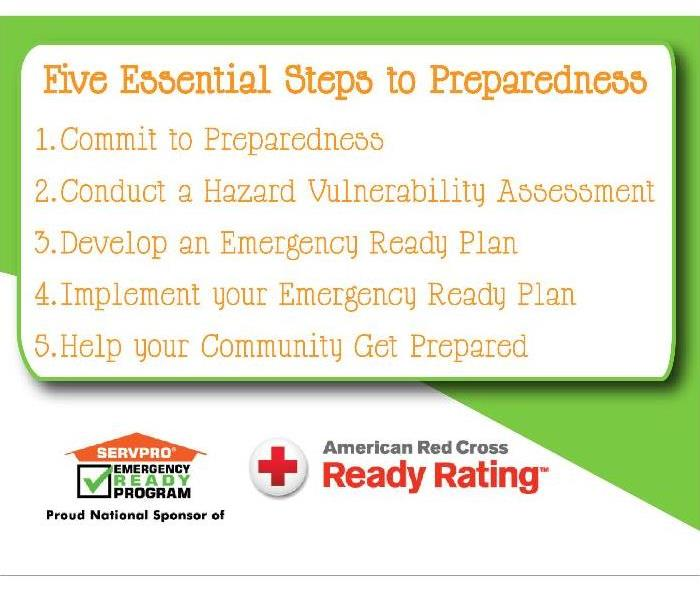 """five essential steps to preparedness, white and green background, SERVPRO logo and American red cross logo at bottom"